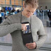 Travel Passport Holder Security Neck Stash Pouch Wallet with RFID Blocking