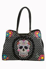 Mexican Sugar Candy Skull Polka Dot Gothic Punk Black Handbag By Banned Apparel