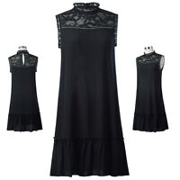 Women's Sexy High Neck Lace Sleeveless Evening Party Cocktail Short Mini Dress