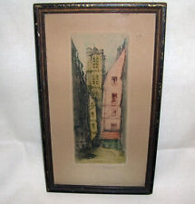 Paris La rue grenier, Sup L'eau Paris etching, Pencil Signed, Leopold Robin