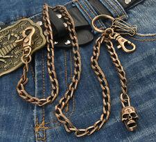 Skull Flat Slim Gothic Punk Double Clasp Biker Trucker Wallet Key Chain CS91