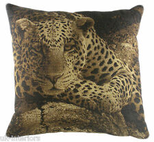 "18"" AFRICA LEOPARD Belgian Tapestry Cushion Evans Lichfield Cotton LC285"