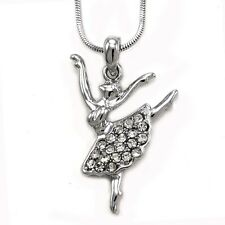 Clear White Dance Ballet Ballerina Girl Crystal Silver Tone Necklace Pendant Kid