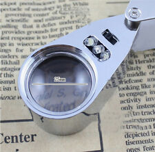 New LED Jewellers Pocket Lens 40X 25mm Loupe Magnifying Eye Glass Magnifier  MD