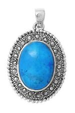 31 mm Stone Turquoise sterling Silver Pendant with Marcasite Pendant Height
