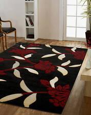 Large Modern Black Dark Red Beige/cream Floral Flower Rug 160x225