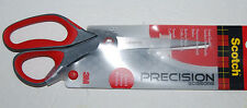 "Scotch 3M Precision 8"" Scissors Stainless Steel Blades Comfort Grip Handle Red"