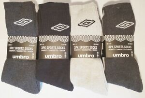 M83 Pack Mens Umbro Comfort Sports Knitted Logo Crew Socks Sizes UK from 6 to 11