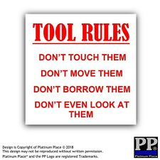 1 x le regole di strumenti - 87x87mm-STICKER, SEGNO, comunicazione, avviso, Scherzo, commercio, lavoro, Scatola, attrezzature