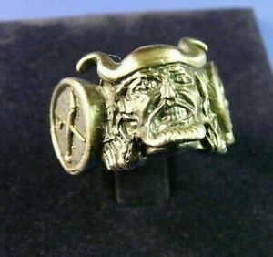 Ring With Head Of Viking Silver 925 Burnished
