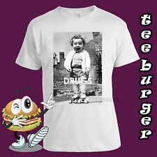 Drugs Funny Girl Skates Mens Cotton  White T-shirt