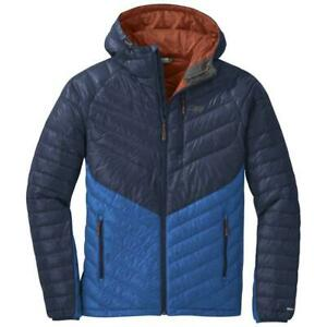 Outdoor Research Illuminate Down Hooded Jacket, Mens Large, Blue