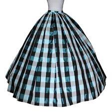 Taffeta Skirt Plaid Checker Blue White Black Civil War Victorian Wedding USA