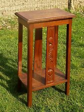 Gorgeous Square Ornate  Pedestal Table Plant Stand Side Table Carved Wood Oak