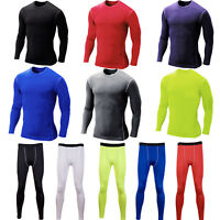 Mens Body Base Layer Gym Thermal Fitness Shirts Tops Pants Leggings Sportswear