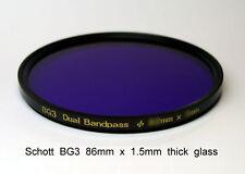 Schott BG3 86mm x 1.5mm thick UV Bandpass Camera Filter, Dual Band UV IR