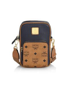 Authentic MCM Visetos Leather Mix Logo Dark Shapphire Crossbody Bag