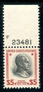 USAstamps Unused XF-Superb US $5 Presidential Plate # Single Scott 834 OG MNH