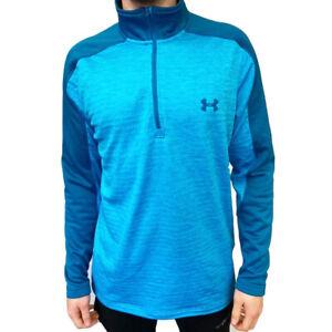 Under Armour UA ColdGear Mens Light Blue Fleece Sweatshirt Golf 1/4 Zip Top L