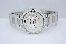 NEW CARTIER BALLON BLEU STAINLESS STEEL 36MM DIAMOND ENCRUSTED WATCH WE902075