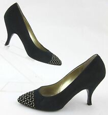 Vintage Bruno Magli Dress Pumps Deep Forest Green Suede Gold Accent Sz 7B