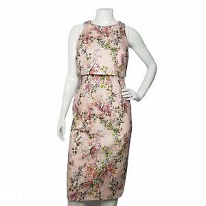 Asos Sheath Dress US Size 10 Pink Floral Sleeveless Stretch Zip Back Round Neck