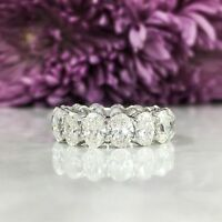 Oval Diamond Eternity Ring 18K White Gold Band Engagement Anniversary 7.30 CT