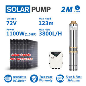 """3"""" Solar Well Pump Submersible DC Water Pump 72V 1100W Bore Hole MPPT Controller"""