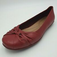Hotter Appledore Womens Leather Shoes Flats Slip-On Red Size UK 6 Standard VGC