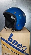 NOS Buco Vintage Blue Fiber Metalflake medium 3/4 Childs Helmet 1843 2 Rare 1977