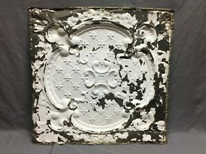 "Antique Decorative Tin Metal Ceiling 2' x 2' Shabby Vtg 24"" SQ Chic Old 2-20B"