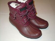Sperry Top Sider Saltwater Quilted Rain Boots STS82684 Women's  9 M-- Wine Color