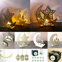 Islam Eid Ramadan Mubarak Decorations Wooden Golden Plaque Hanging Lantern DIY