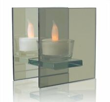 Infinity Glass Tealight Candle Holder - Mirrored Glass Holder and Led Flameless
