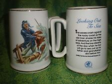 Norman Rockwell Looking Out to Sea Braving the Storm mug cup Stein 1985