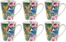Colección Leonardo Set de 6 Porcelana Fina Grande Tazas Fauna Tucán