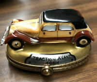 Limoges France Rochard Vintage Auto Trinket Box Traction Avant 1951 Hand Painted