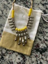 Jcrew Mixed Crystal Spike Necklace Yellow Grey Nwt