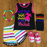 US Kids Toddler Baby Girl Clothes Romper Bodysuit+Short Pants Sunsuit Outfit Set