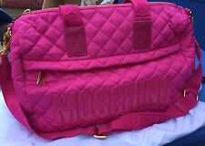 SS16 Moschino Couture X Jeremy Scott Quilted Pink Shopper w/Pink Logo Bag LARGE!