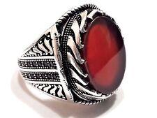 Turco otomano Piedra Preciosa Natural Ágata Rojo sólido de plata esterlina 925 Anillo de hombre
