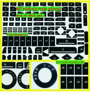 Audi A4 B6 B7 Exeo Radio Decals Stickers For Repair Worn Button Knob Switch New