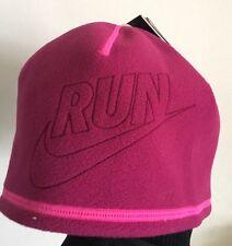 Nike Run Donna Corsa Cappello Reversibile Rosa Rimanere al caldo la tecnologia NUOVO THERMA FIT