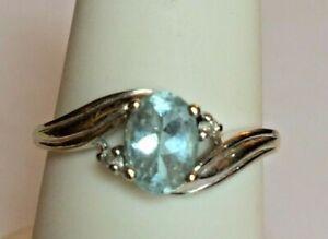 WHITE GOLD 1CT AQUAMARINE DIAMOND RING. SIZE 6.75