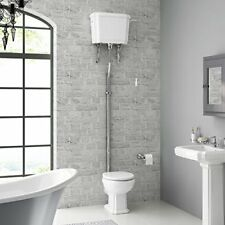 Traditional White Bathroom Closed Coupled Toilet High Cistern Soft Close Seat