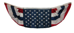 1.5x5 USA American Embroidered Sewn Nylon 2ply Flag 1.5' x 5' Bunting Fan