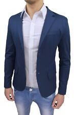 Giacca uomo Sartoriale blu elegante casual blazer cotone slim 100% made in Italy