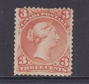Canada Sc 25 MLH. 1868 3c red Queen Victoria, few short perfs at top, scarce.