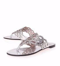 Vince Camuto Silver Metallic Elian Studded Cutout Flip Flops Thong Sandals SZ 9