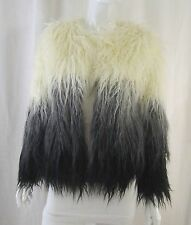 Cyber Goth Punk Glam Occult Witchy Black White Grey Ombre Jacket Coat Small NWT